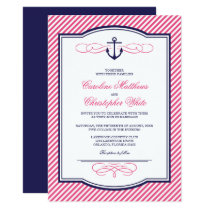Navy and Pink Nautical Anchor Wedding Invitation