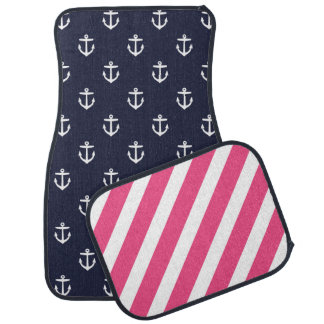 Navy and Pink Nautical Anchors and Stripes Car Floor Mat