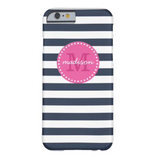 Navy and Pink Preppy Stripes Custom Monogram Barely There iPhone 6 Case