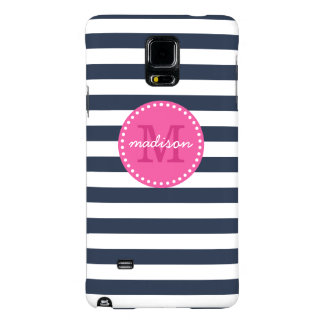 Navy and Pink Preppy Stripes Custom Monogram Galaxy Note 4 Case