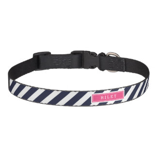 Navy and Pink Preppy Stripes Monogram Pet Collar