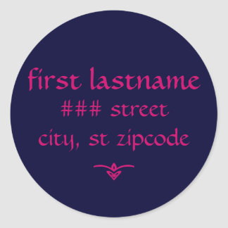 navy and pink return address label - personalize