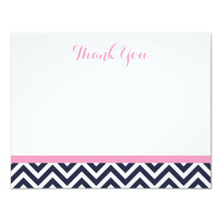 Navy and Pink Simple Chevron Thank You Note Cards