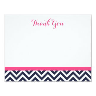 Navy and Pink Simple Chevron Thank You Note Cards Custom Invite