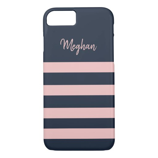 Navy and Pink Stripe Personalized iPhone Case
