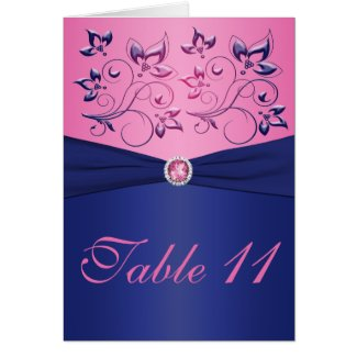 Navy and Pink Table Number Card card