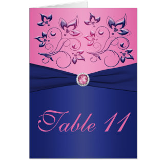 Navy and Pink Table Number Card