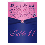 Navy and Pink Table Number Card Cards