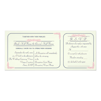 Navy and Pink Ticket Wedding Invitation with RSVP
