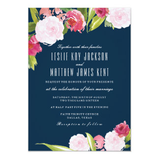 navy and pink wedding invitation with flowers - Navy And Blush Wedding Invitations