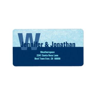 Navy and Powder Blue Modern Simple Monogram Address Label