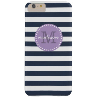 Navy and Purple Preppy Stripes Custom Monogram Barely There iPhone 6 Plus Case