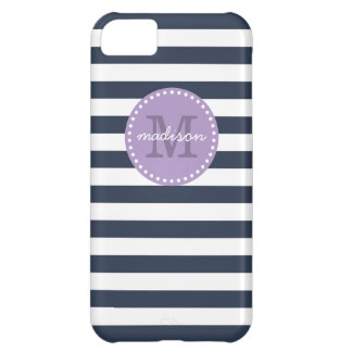 Navy and Purple Preppy Stripes Custom Monogram Cover For iPhone 5C
