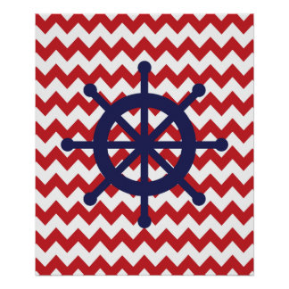 Navy and Red Chevron Nautical Ship Wheel Poster