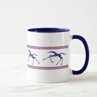 navy and red leggy horses galloping mug