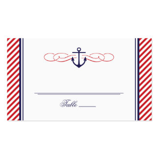 NAVY AND RED NAUTICAL ANCHOR WEDDING ESCORT CARD