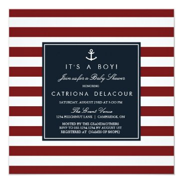 Toddler & Baby themed Navy and Red Nautical Baby Shower Invitation