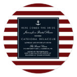 """Navy and Red Nautical Bridal Shower Invitation 5.25"""" Square Invitation Card"""