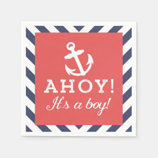 Navy and Red Nautical Chevron Baby Shower Napkins