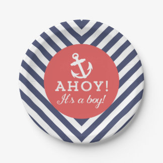 Navy and Red Nautical Chevron Baby Shower Paper Plate
