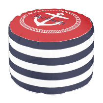 Navy and Red Nautical Stripes Anchor Monogram Pouf