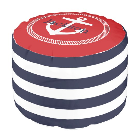 Navy And Red Nautical Stripes Anchor Monogram Pouf Zazzle Awesome Anchor Pouf