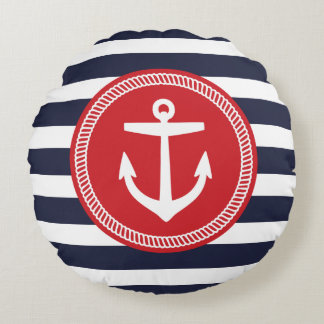 Navy and Red Nautical Stripes and Anchor Round Pillow