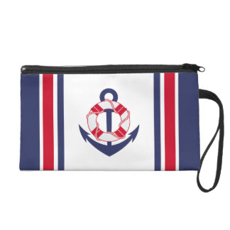 Navy and Red Nautical Stripes Wristlet Purse