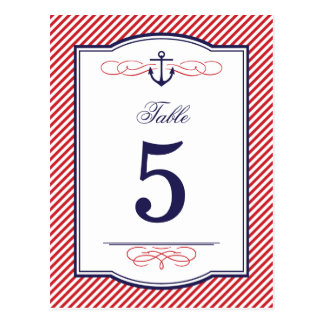 Navy and Red Nautical Wedding Table Number Cards Postcard