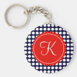 Navy and Red Polka Dots Custom Initial Key Chain