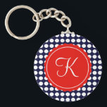 """Navy and Red Polka Dots Custom Initial Keychain<br><div class=""""desc"""">Navy blue and white polka dots with a pop of blod red for a classic,  nautical look.  Personalize with any initial.</div>"""