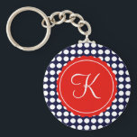 "Navy and Red Polka Dots Custom Initial Keychain<br><div class=""desc"">Navy blue and white polka dots with a pop of blod red for a classic,  nautical look.  Personalize with any initial.</div>"