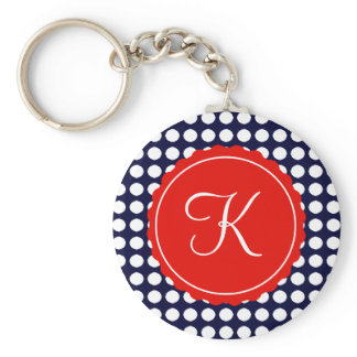 Navy and Red Polka Dots Custom Initial Keychain