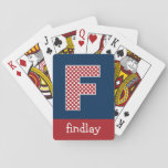 Navy and Red Polka Dots with Monogram Letter F Card Decks