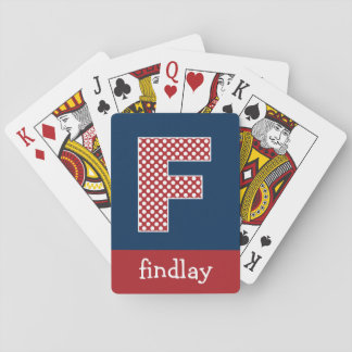 Navy and Red Polka Dots with Monogram Letter F Playing Cards