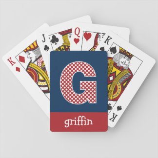 Navy and Red Polka Dots with Monogram Letter G Playing Cards