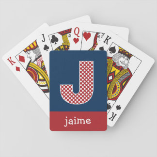 Navy and Red Polka Dots with Monogram Letter J Card Decks