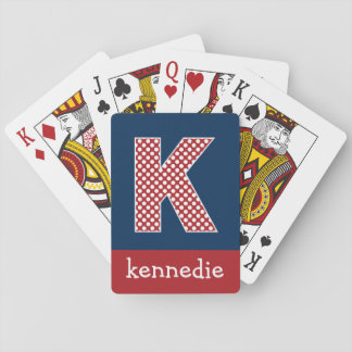Navy and Red Polka Dots with Monogram Letter K Poker Deck