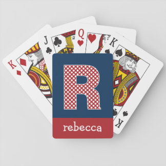 Navy and Red Polka Dots with Monogram Letter R Playing Cards
