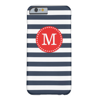Navy and Red Preppy Stripes Custom Monogram Barely There iPhone 6 Case