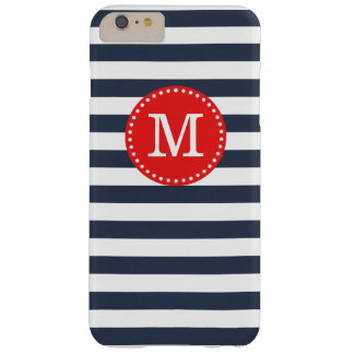 Navy and Red Preppy Stripes Custom Monogram Barely There iPhone 6 Plus Case