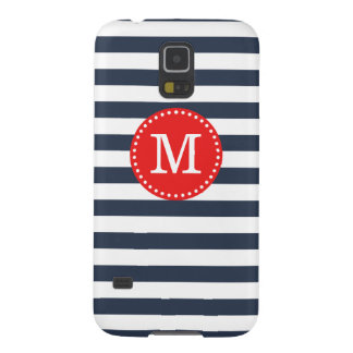 Navy and Red Preppy Stripes Custom Monogram Galaxy S5 Cover