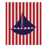 Navy and Red Striped Nautical Ship Poster