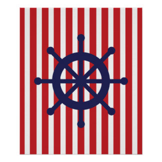 Navy and Red Striped Nautical Ship Wheel Poster