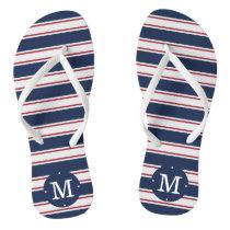 Navy and Red Summer Stripe Monogram Flip Flops