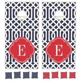 Navy and Red Trellis Monogram Cornhole Sets