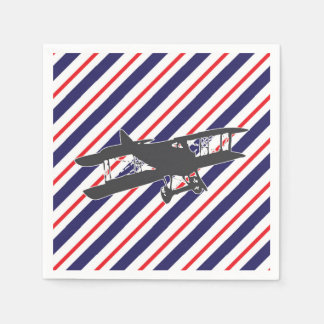 Navy and Red Vintage Biplane Airplane Napkins