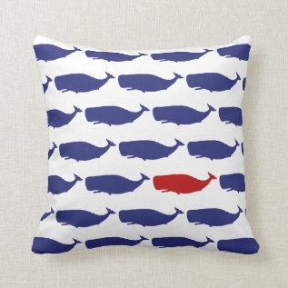 Navy And Red Whale Pattern Nautical Throw Pillow at Zazzle