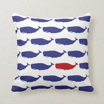 Beach Themed Navy and Red Whale Pattern Nautical Throw Pillow