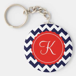 Navy and Red Zig Zag Custom Initial Basic Round Button Keychain